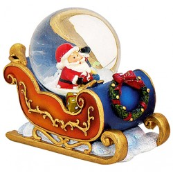 Boule à neige Père Noël traineau orange bleu résine 7 cm