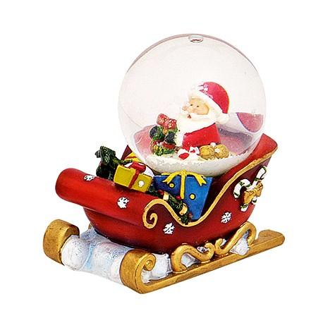 Boule à neige Père Noël traineau rouge résine 7 cm