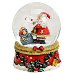 Boule à neige Père Noël lettre hotte résine 9 cm