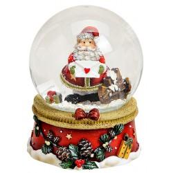 Boule à neige Père Noël lettre barrière résine 9 cm