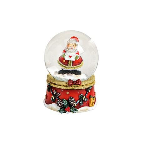 Boule à neige Père Noël lettre devant résine 6 cm