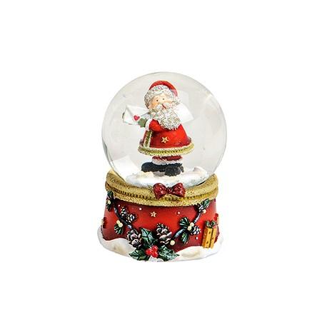 Boule à neige Père Noël lettre côté résine 6 cm