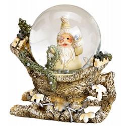 Boule à neige Père Noël sur traineau résine 8 cm