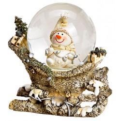 Boule à neige Bonhomme de neige sur traineau résine 8 cm