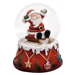 Boule à neige Père Noël luge assis bras en l'air résine 6 cm