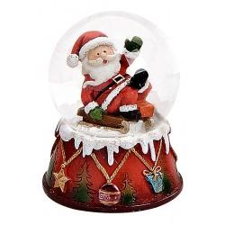 Boule à neige Père Noël luge allongé résine 6 cm