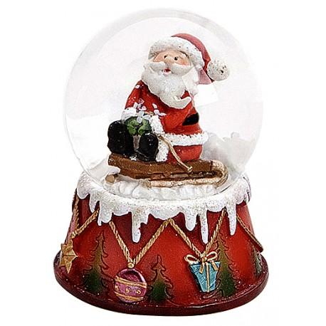 Boule à neige Père Noël luge assis résine 6 cm