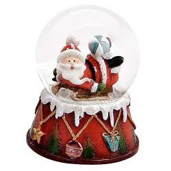 Boule à neige Père Noël luge ballon résine 6 cm