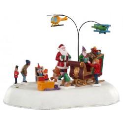 Scène animée Père Noël enfants et cadeaux Lemax