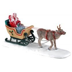 Père Noël et Mère Noël en traîneau Lemax