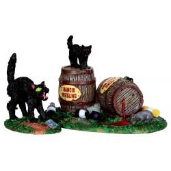Tonneaux et chats noirs lot de 2 Halloween Lemax