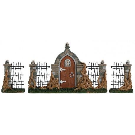 Porte et clôture avec ronces Lot de 3 Lemax Halloween