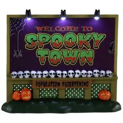 Panneau d'entrée Spooky Town lumineux Lemax Halloween