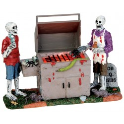 Scène lumineuse Squelettes et barbecue Lemax Halloween