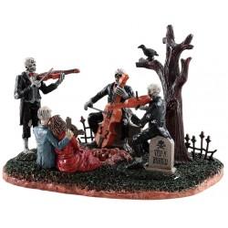 Squelettes musiciens et couple de zombies Lemax Halloween