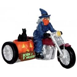 Sorcière en side-car Lemax Halloween