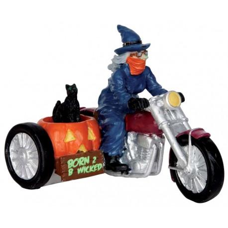 Sorcière en sidecar Lemax Halloween