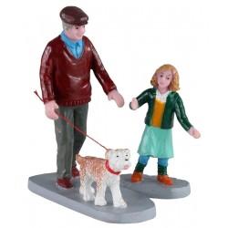 Grand-père et sa petite-fille en promenade lot de 2 Lemax