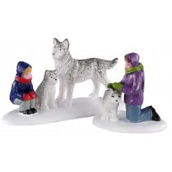 Enfants et chiens husky lot de 2 Lemax