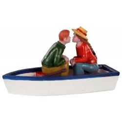 Couple d'amoureux dans une barque Lemax