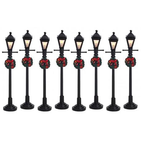 Lampadaires décorés lumineux Lot de 8 Lemax