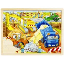 Puzzle cadre enfant en bois chantier 56 pièces