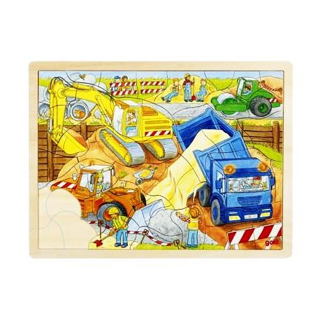 Puzzle enfant en bois chantier 56 pièces