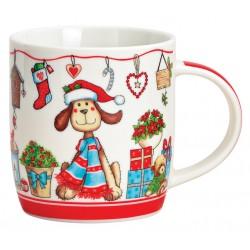 Tasse chien Noël rouge porcelaine 36 cl