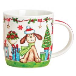Tasse chien Noël vert porcelaine 36 cl