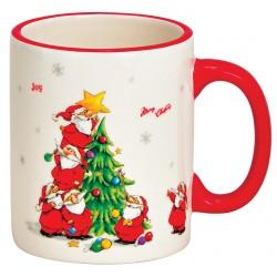 Tasse lutins de Noël et sapin céramique 35 cl