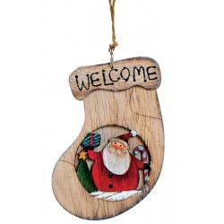 Suspension sapin en bois chaussette Père Noël