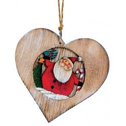 Suspension sapin en bois coeur Père Noël