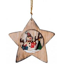 Suspension sapin Noël en bois étoile bonhomme de neige