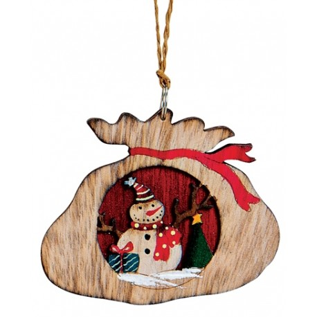 Suspension sapin Noël en bois hotte bonhomme de neige