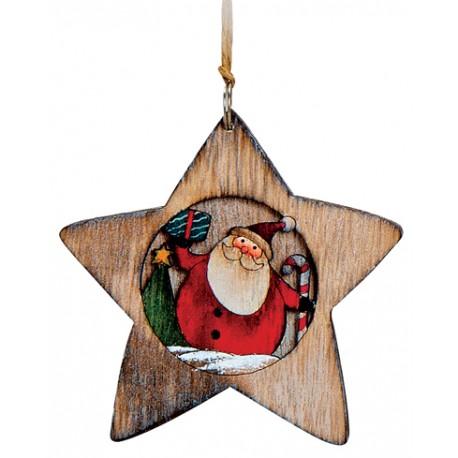 Suspension sapin en bois étoile Père Noël