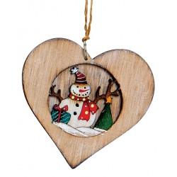 Suspension sapin Noël en bois coeur bonhomme de neige