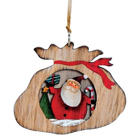 Suspension sapin en bois hotte Père Noël
