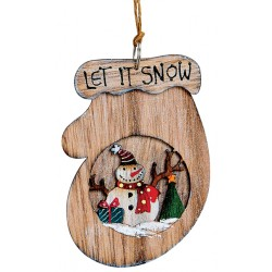 Suspension sapin Noël en bois gant bonhomme de neige