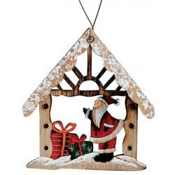 Suspension sapin maison en bois Père Noël cadeaux