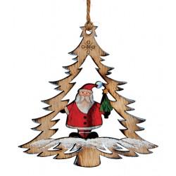 Suspension sapin en bois Père Noël