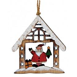 Suspension sapin en bois maison Père Noël