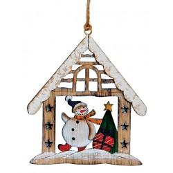 Suspension sapin Noël en bois maison bonhomme de neige