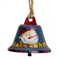 Suspension sapin cloche bleu bonhomme de neige