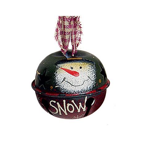 Suspension sapin Noël grelot bonhomme de neige vert rouge