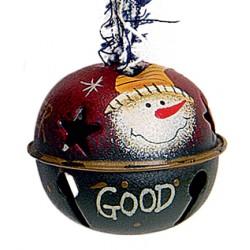 Suspension sapin Noël grelot bonhomme de neige rouge vert