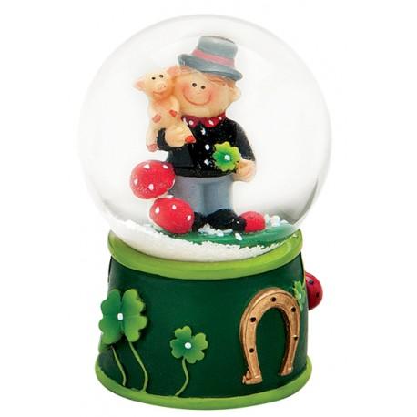 Boule à neige Saint Patrick cochon trèfle 7 cm vert