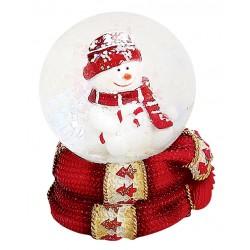 Boule à neige Bonhomme de neige sucre d'orge 6 cm rouge