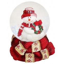 Boule à neige Bonhomme de neige couronne 6 cm rouge