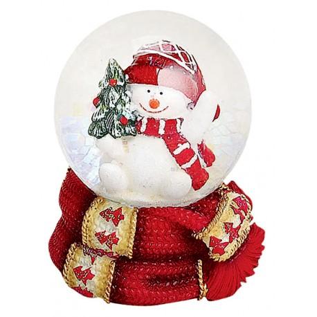 Boule à neige Bonhomme de neige sapin 6 cm rouge