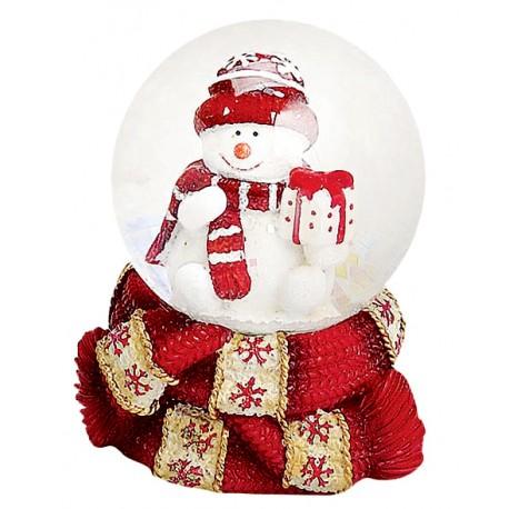 Boule à neige Bonhomme de neige cadeau 6 cm rouge